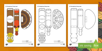 Simple 3D Thanksgiving Turkey Loops Activity Paper Craft