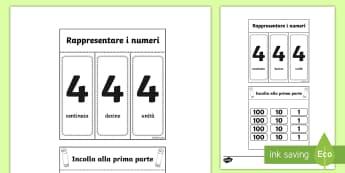 Valore posizionale Esercizio a Finestrelle Attività - valore, posizionale, matematica, italiano, italian, materiale, scolastico, esercizio