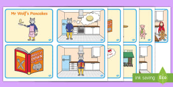 Story Sequencing Cards to Support Teaching on Mr Wolf's Pancakes - mr wolfs pancakes