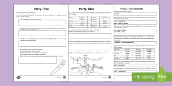 Party Time Problem Solving Activity Sheet - ACMMG085, hours, minutes, days, seconds, ACMMG086, worksheet