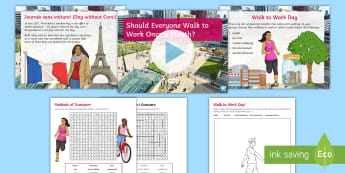 Should Everyone Walk to Work Once a Month? Debate Pack - health, environment, exercise, discussion, ks3