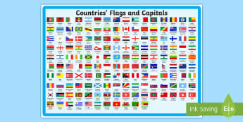 Flags and Capitals Display Poster - flag, country, world, europe, asia, africa, globe, earth, geography, ks1, ks2, capital, city, cities, places