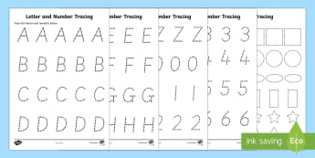 Letters Numbers and Shapes Tracing Activity Sheets- fine motor skills, literacy, writing, letter formation, number formation, tracing