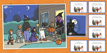Halloween Scene and Question Cards Arabic/English - Halloween Scene and Question Cards - halloween, scene, question, cards,haloween,halloweeen,hallowen,