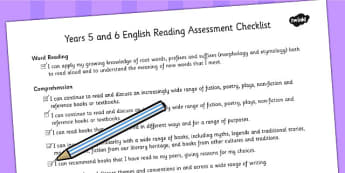 2014 National Curriculum UKS2 Years 5 and 6 Reading Assessment Checklist