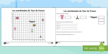 Feuilles d'activités différenciées : Les coordonnées - Le Tour de France  - Mathématiques, cycle 3, Maths, quadrillage, repérer, cyclisme, vélo,French
