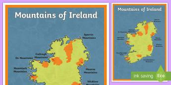 Mountains of Ireland Large Display Poster - geography, mountains, Ireland, physical geography, SESE, map, ,Irish