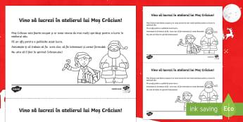 Anunț de angajare pentru atelierul lui Moș Crăciun - Afiș - crăciun, moș crăciun, anuntul, text functional, română, scriere, materiale, fișe, limba romana