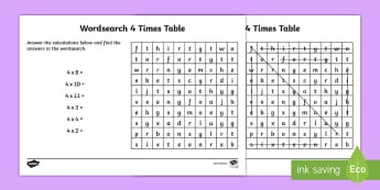 Multiplication 4 Times Tables Wordsearch Worksheet - multiplication, 4 times tables, wordsearch, worksheet, times tables, times, tables, maths, numeracy