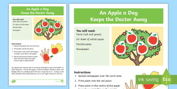 An Apple a Day Keeps the Doctor Away Activity  - sensory, art, craft, hand, palm, body part, paint, print, apple, special education, colour