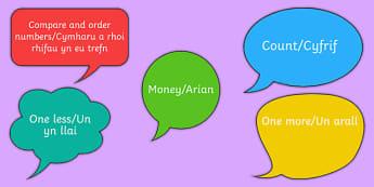 Mathematical Language on Speech Bubbles Nursery Reception Bilingual Resource - LNF, Speech bubbles, Welsh Second Language Maths Resources,