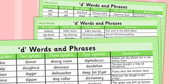 D' Word List - d, word list, word, list, d sound, sound, letter