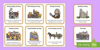 The Great Fire of London Small Sequencing Cards - Sequence, Key Stage One, KS1, Order, Learning order, chronological, History, Event, Disaster