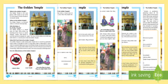 The Golden Temple Differentiated Fact File - KS2, Sikh, Golden Temple, sacred, Guru, Guru Granth Sahib, yatra, Amrit Saras Kand, langar, pangat,