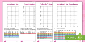 Valentine's Day Coordinates Activity - x and y, plotting points, first quadrant, axes