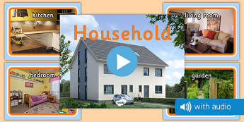 Household Audio Flashcards - household items, photos, images, audio, sounds