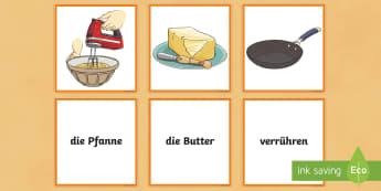 Pancake Baking Word and Picture Matching Cards - Pancake Day, Pfannkuchen, German, Baking