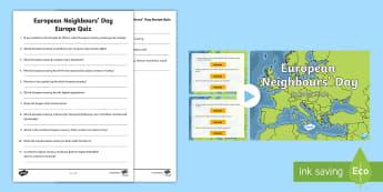 European Neighbours' Day Europe Quiz Pack - UKS2, geography, Europe, LKS2, European, Europe quiz, europe quiz, european neighbours' day, Europe