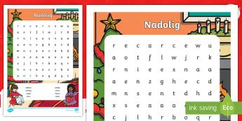 Chwilair Nadolig - Christmas, wrodsearch, Nadolig, chwilair, geirfa,Welsh