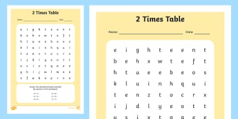 Multiplication 2 Times Tables Wordsearch Worksheet - multipilication, 2 times tables, times tables, wordsearch, worksheet, numeracy, maths, times, tables