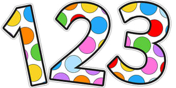 Multicoloured Polka Dot Display Numbers - number, display, dots