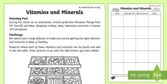 Vitamins and Minerals Activity Sheet - Amazing Fact Of The Day, amazing fact a day april, activity sheets, powerpoint, Worksheet, starter,