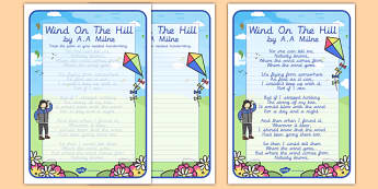 Wind on the Hill KS2 Handwriting Poems - wind on the hill, ks2, handwriting, poems