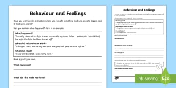 How Our Thoughts Affect Our Behaviours and Feelings Activity Sheet  - young people, anger, PSHCE, emotions, feelings, worksheet, worries, fears
