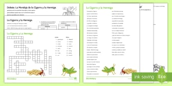 Spanish Literature Lesson Pack to Support Teaching on 'La Cigarra y la Hormiga' by Samaniego Spanish - literature, ant, grasshopper, grammar, activity, sheets, reading