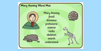 Mary Anning Word Mat - mary anning, word mat, topic words, topic mat, themed word mat, writing aid, mat of words, key words, keywords, key word mat, mat