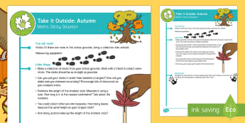 EYFS Take It Outside: Autumn Maths - Sticky Situation Activity - Little Acorns, twinkl originals, fiction, Outdoor and Woodland Learning, Wonder Investigate Learn Di