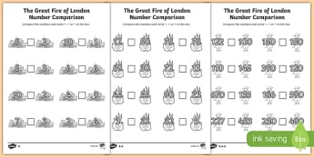The Great Fire of London Number Comparison Activity Sheet, worksheet