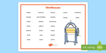 Workhouses Word Mat - KS1 & KS2 Workhouses, word  mat, independent writing, writing aids, topic spellings, year 3, year 4,