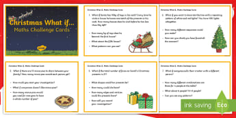 UKS2 Christmas What If Maths Challenge Cards - Santa, Reindeer, Star, Tree, December, Christmas dinner