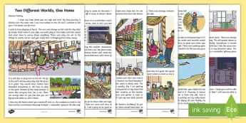Two Different Worlds, One Home Story - KS1 & 2 Refugee resources (refugee week (20.6.17), refugee week, story, KS1 refugee story, EYFS refu
