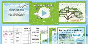 PlanIt Spelling Year 4 Term 3A W3: Adding the Prefix Auto- Spelling Pack - Spellings, Year 4, Term 3B, W4, prefix, anti-, word families