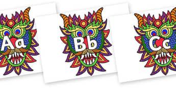 Frise alphabétique : Le dragon du Nouvel An chinois - lettres, alphabet, chine, nouvelle année, lecture, lire, cycle 1, affichage, poster, affiche, dragon