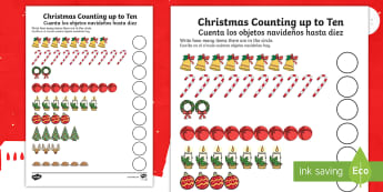 Counting at Christmas up to 10 Activity Sheet English/Spanish - EAL, Counting at Christmas Worksheet Up to 10 - counting, christmas, worksheet, up to, 10,chritmas,c