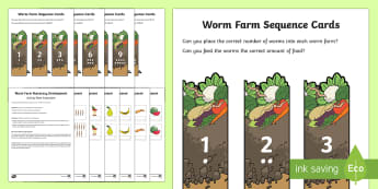 Worm Farm - Count and Add Worksheet / Activity Sheet - Sustainability, maths, wormery, counting, addition up to 10, worms, worm maths, practical maths,Aust