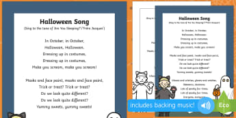 Halloween Song - EYFS Halloween, witches, wizards, magic spell, Hallowe'en, All Hallows Eve, All Saints Day, All Sou
