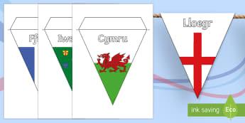 Baneri Bach Rygbi Chwe Gwlad - Rygbi Chwe Gwlad, Six Nations Rugby, Italy, Scotland, france, Wales, Ireland, England, Cymru, lloegr