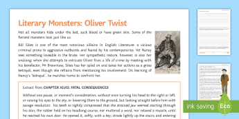 Literary Monsters: Oliver Twist Activity Sheet - Oliver, Charles Dickens, Bill Sikes, monster, Victorian