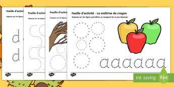 Feuilles d'activités sur l'automne : La maîtrise du crayon - Alphabet, thème, halloween, saisons, temps,French