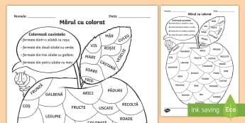 Mărul Colorează după numărul de silabe - măr, mărul, toamna, joc, silabe, colorează, după, număr, Romanian