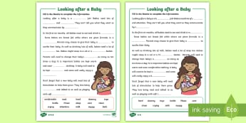 CfE (First) Looking After a Baby Differentiated Worksheet / Activity Sheet - baby, babies, needs, looking after, HWB, parenthood,worksheet
