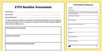 Childminder EYFS Baseline Assessment  - child minder, baseline, eyfs