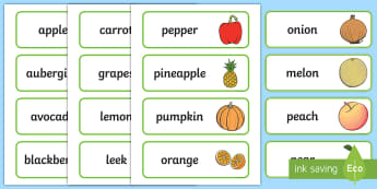 Fruit And Veg Shop Role Play Word Cards - Fruit and Vegetable Shop Role Play Pack, Word cards, Word Card, flashcard, flashcards,fruit, vegetables, shop, produce, customer, till, role play, display, poster