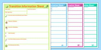 SEN Parent Transition Information Sheet Primary - sen, transition