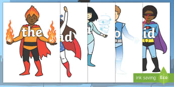 100 Common exception Words on Superheroes Cut-Outs - Tricky words, DfES Letters and Sounds, Letters and sounds, display, words, trciky words, leters, let