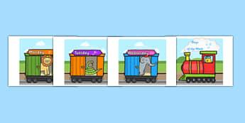 Days of the Week on an A4 Train Urdu - urdu, Weeks poster, Weeks display, Train poster, Days of the week